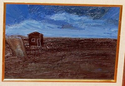 Isaac I. Monteiro Dark Brown Landscape Deep Blue Sky Abstract House Oil Painting