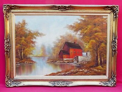 Vintage Red Barn River Landscape Water Mill Landscape Painting Signed Eastwell