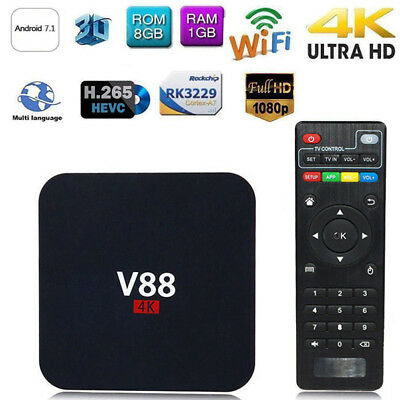 V88 4K BOX Android 7.1 Hot Smart RK3229 Quad Core HD WiFi Media Player New O7K8