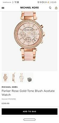 6ccafce068d1 NEW MICHAEL KORS MK5896 Parker Dial Rose Gold tone and Blush Acetate ...