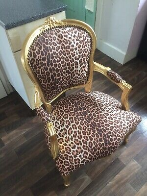 Leopard Print and Gold French Louis Dressing Table Bedroom Arm Chair