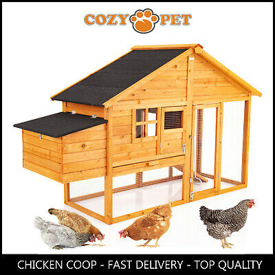 Chicken Coop Cozy Pet Natural Hen House Poultry Ark Rabbit Hutch Run Coup CC03N