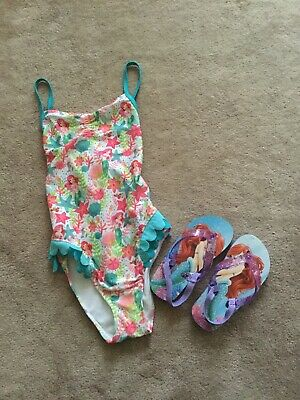 Disney Store Girls Swimsuit And Flip Flops