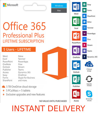INSTANT Microsoft Office 365 2016 2019 Lifetime Pro Key PC/Mac 5TB User