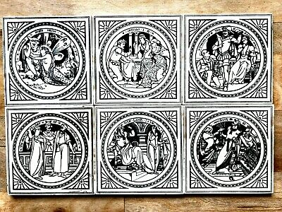 "Set of 6 original 1872 Minton ""Shakespeare "" series tiles + 6 associated tiles"