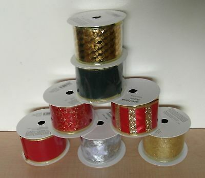 NEW Pack of SIX Reels of Assorted Christmas Ribbon Wired 24 Metres NEW
