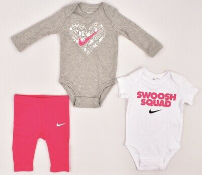 NIKE Baby Girls' 3-piece Set, 2 Bodysuits+Leggings, Pink/Grey/White, 3m 6m 9m