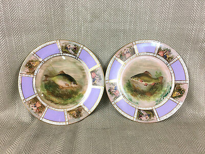 2 Antique Porcelain Hand Painted Fish Plates Beehive Mark Continental