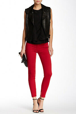 New J Brand Jeans $198 8428 Mid Rise Zip Hem Crop In Red Burn Sz 24