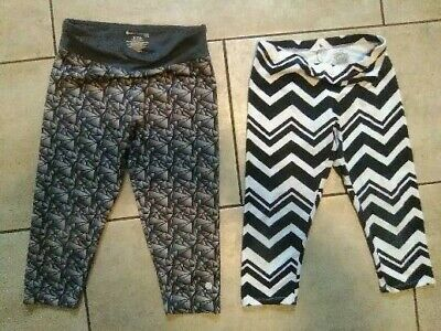 girls size 7/8 knit crop active leggings capris ballys & faded glory lot of 2