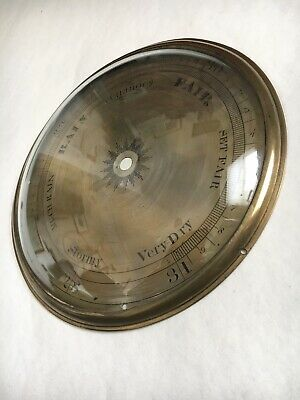 Vintage Banjo Barometer Silvered Dial And Brass Bezel With Convex Glass