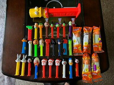 BULK LOT 33 PEZ CANDY DISPENSERS 1 LARGE Bart Simpson & 32 Others Rare MUST SEE