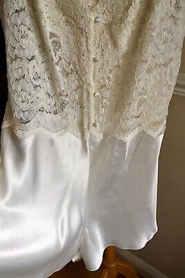 """VTG*M&S* Camiknickers Playsuit Teddy Ivory Lace Glossy BNWT UK18 To Fit Bust 40"""""""