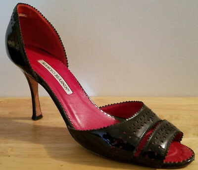 d9c671b8688 MANOLO BLAHNIK EVENING shoe. Black glitter, peep toe, sling back ...