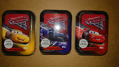 MINI TIN BOX AU CHOIX CARS 3 TOPPS TRADING CARDS EDITION FR