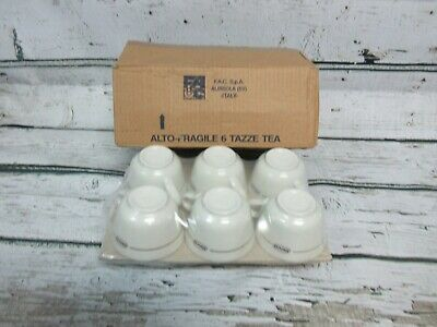 """Vintage ACF """"MOCA"""" Mocha Coffee Espresso Cups and Saucers Set of 6 Made In Italy"""