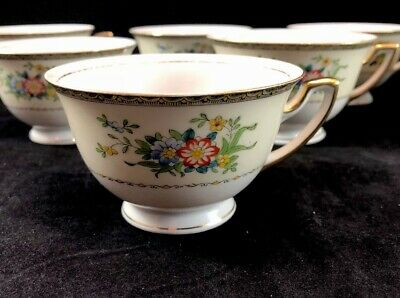 Vintage  MEITO China 8 Perfect Tea Cups-  Spring Floral Design MEI210