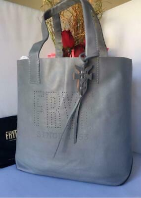 9d36220db8e6 AUTH NWT  298 Frye Carson Logo Perforated Steel Grey Leather Tote Shoulder  Bag