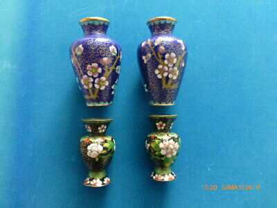 Two pairs of miniature cloisonne vases