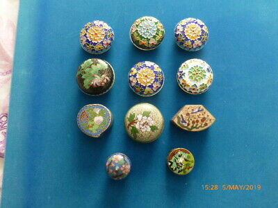 11 small Chinese Cloisonne boxes