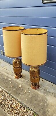 Vintage Rare Mid Century Berger Table Lamp Gold Nugget W/Wood Base