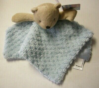 "Bear Security Blanket W/Snaps For Pacifier Holder By Fiesta, Blue, 9"", Brand New"