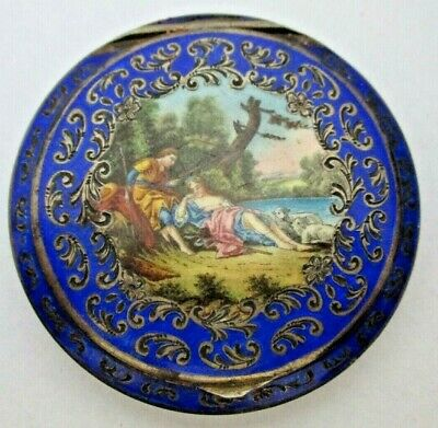 Austrian Sterling Cobalt Guilloche Champleve Enamel Round Compact Hand Painted!