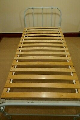 Vintage Painted Iron single bed with sprung slat base