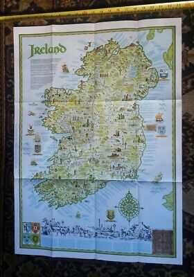1979 All Ireland Detailed Colour Map 20 In X 28 In No Boarder Derry In Print