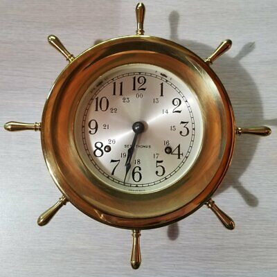Seth Thomas Helmsman E537-001 Marine Ship's Wheel Clock, Original Box, Key, More
