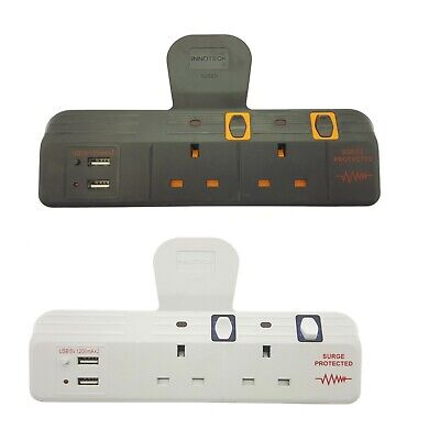 2 Way Extension Lead Gang Neon Adapt Port Usb Port With Surge Protection New