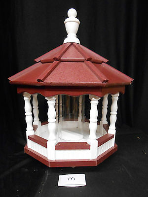 Poly Bird Feeder Amish Gazebo Handcrafted Homemade White & Red Roof