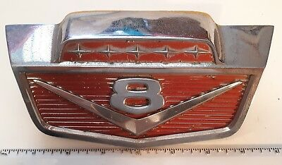 "*Rare Canada/Usa 1950-1960'S Ford Truck ""V8"" Hood Emblem. Excellent-Some Crazing"
