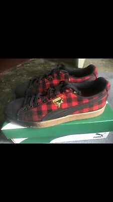 99acf08ed7 PUMA CLYDE BUFFALO Plaid Casual Sneaker Shoe Red Mens Size 9.5 ...