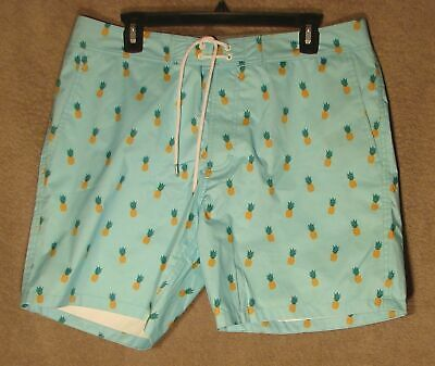 d245515962 NWT 7-inch Light Blue Pineapple Banzai Swim Trunk from Bonobos, Size 33