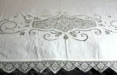 "72x99"" ANTIQUE OF WHITE COTTON LINEN COVERLET BEDSPREAD LACE CUTWORK EMBROIDERED"