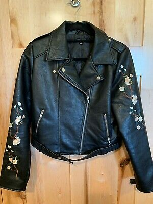 1a7c27876 Romeo + Juliet Couture Embroidered Motorcycle Jacket Faux Leather Flowers  Large