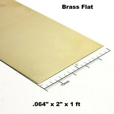"Brass Flat Stock .064"" x 2"" x 1 ft  260 Solid Rectangle Strip  12"" Length"