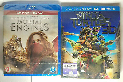 Mortal Engines 3D Region-Free +TMNT 3D+Blu ray+DVD+Digital+Lenticular Slip Cover