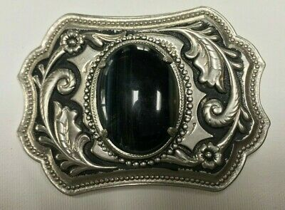 Large Vintage Silver Tone Belt Buckle with Black Tiger Eye Stone