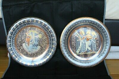 Vintage Egyptian Decor Handmade Copper Plate X 2
