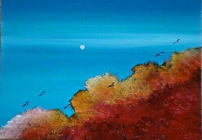 ACEO ORIGINAL Cloudscape Birds Sky Summer Sunset Miniature Painting Art HYMES