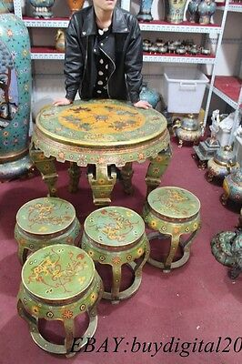 "30"" China Cloisonne Pure Bronze Nine Dragon Bottle Vase Chair desk 4 Stools Set"
