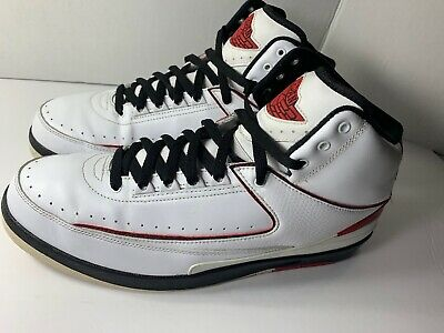 lowest price a02e7 cfb12 Nike Air Jordan II 2 Retro WHITE BLACK FIRE-RED(395709-