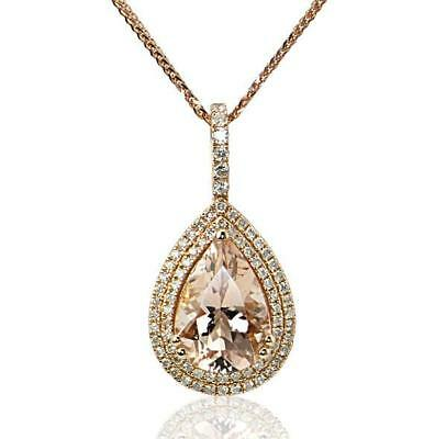 Pear Cut Morganite Double Halo Pendant 925 Sterling Silver 14K Rose Gold Plated