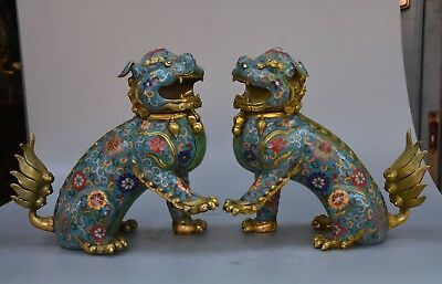 "10"" Chinese Bronze Cloisonne Evil Foo Dog Lion Statue Incense Burner Censer Pair"