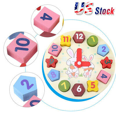 Child Wooden Clock Toys Puzzle Digital Geometry Cognitive Kids Learning Toys