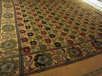 Antique Arts & Crafts Coverlet w/Silk Brocaded Hem UK or Roycroft  1910 Ex Cond
