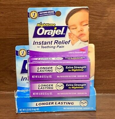Baby Orajel Instant Relief For Teething Pain Daytime & Nighttime Gels Exp. 08/19