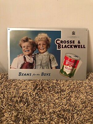 """VINTAGE SCARCE CROSSE & BLACKWELL """"Beans for the Boys"""" Tin Over Cardboard Sign"""